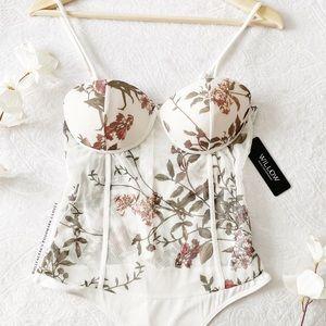 MWT Sheer Floral Print Padded Bodysuit